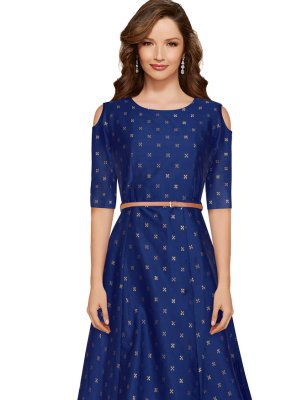 Tafeta Silk Designer Gown in Blue
