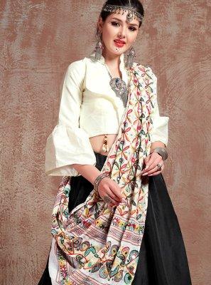 Tafeta Silk Fancy Black and Off White Lehenga Choli