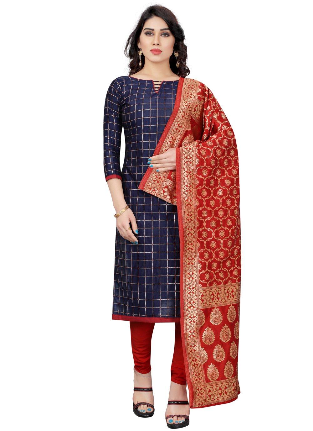 Tafeta Silk Fancy Blue Churidar Designer Suit