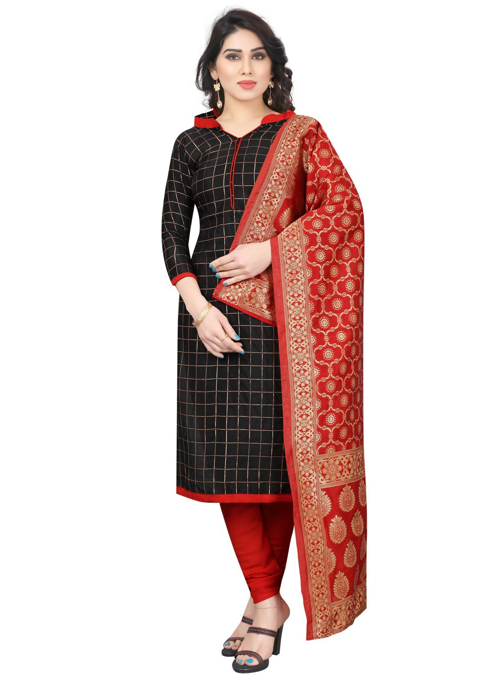 Tafeta Silk Fancy Churidar Salwar Suit in Black