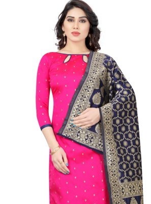 Tafeta Silk Fancy Churidar Suit in Hot Pink