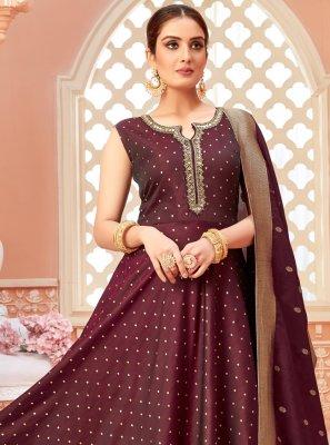 Tafeta Silk Fancy Wine Floor Length Anarkali Suit