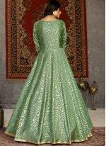 Tafeta Silk Foil Print Designer Gown in Green