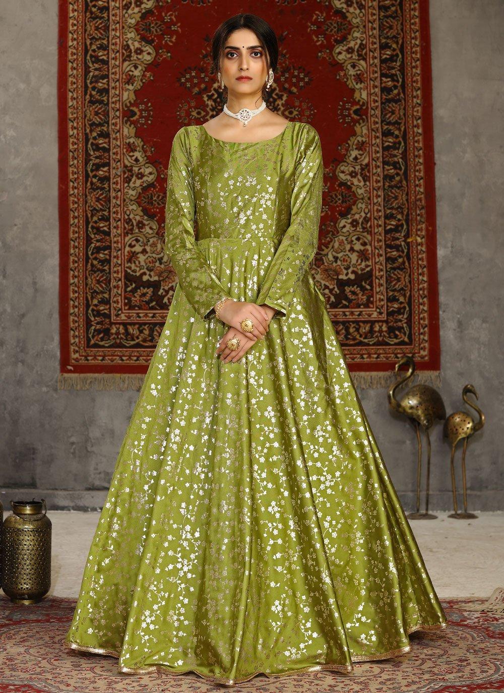 Tafeta Silk Foil Print Green Designer Gown