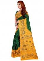 Tafeta Silk Green Print Designer Traditional Saree