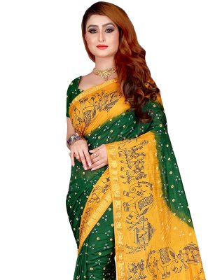 Tafeta Silk Green Print Designer Traditional Saree