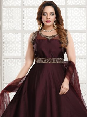 Tafeta Silk Handwork Readymade Gown in Brown