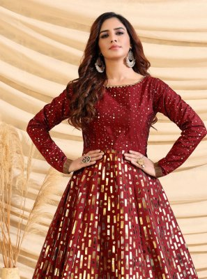 Tafeta Silk Maroon Fancy Designer Gown