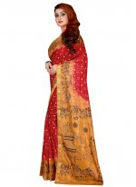 Tafeta Silk Maroon Traditional Saree