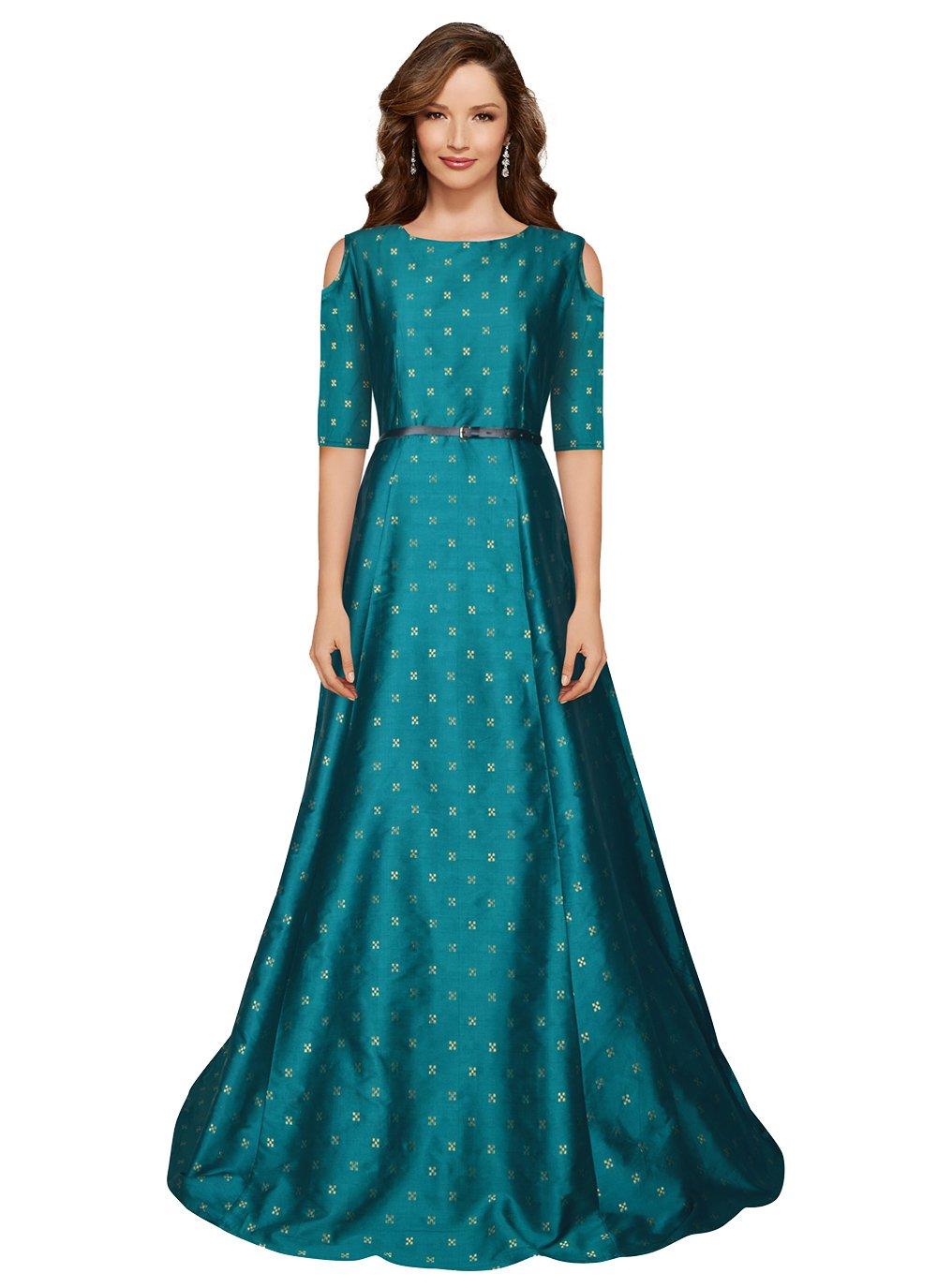 Tafeta Silk Printed Designer Gown