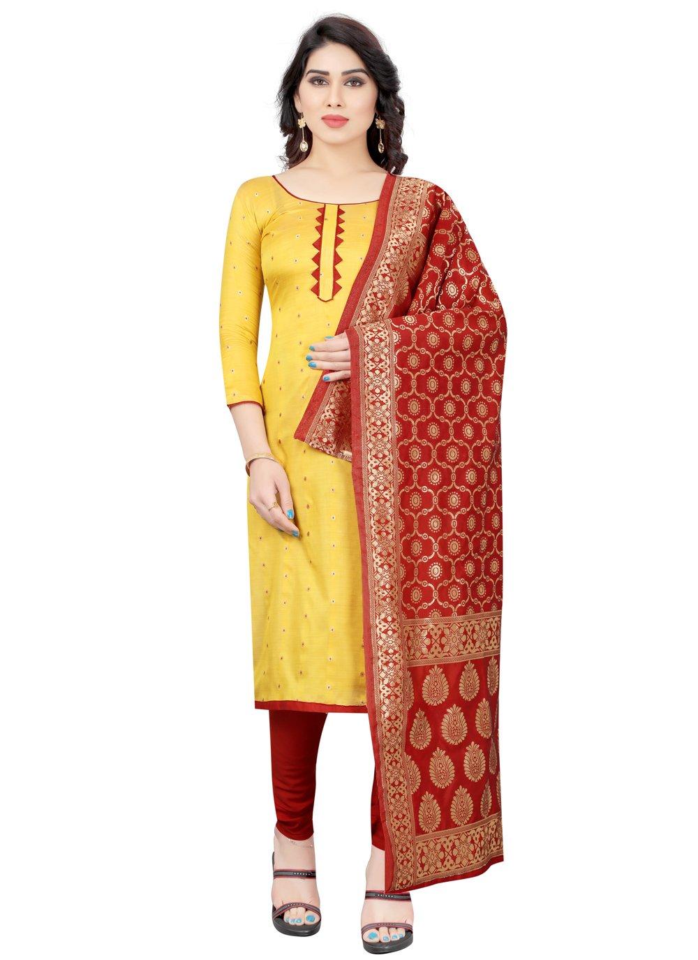 Tafeta Silk Yellow Fancy Churidar Designer Suit