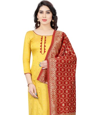 Tafeta Silk Yellow Fancy Churidar Designer Suit