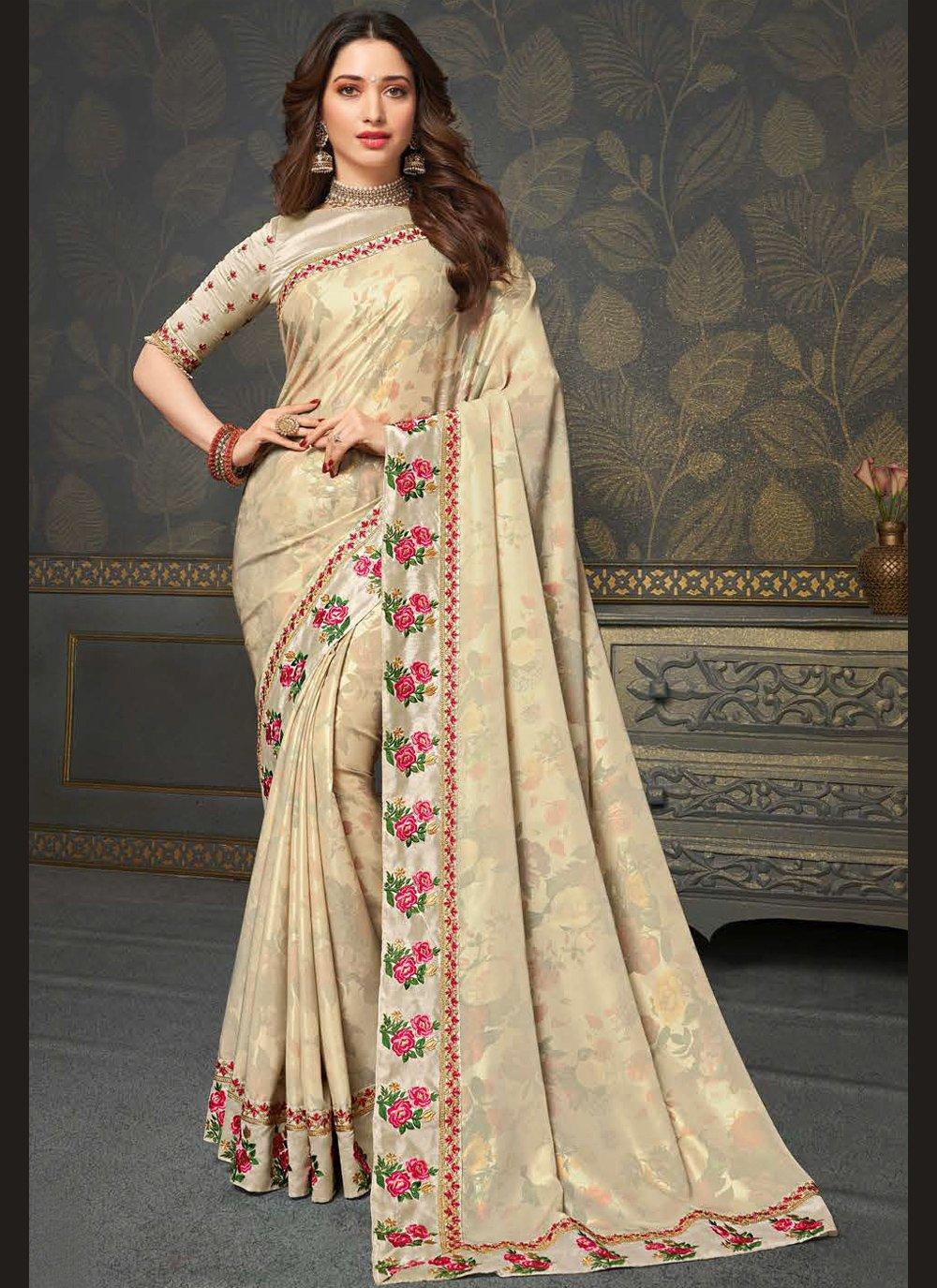 Tamannaah Bhatia Beige Embroidered Traditional Designer Saree