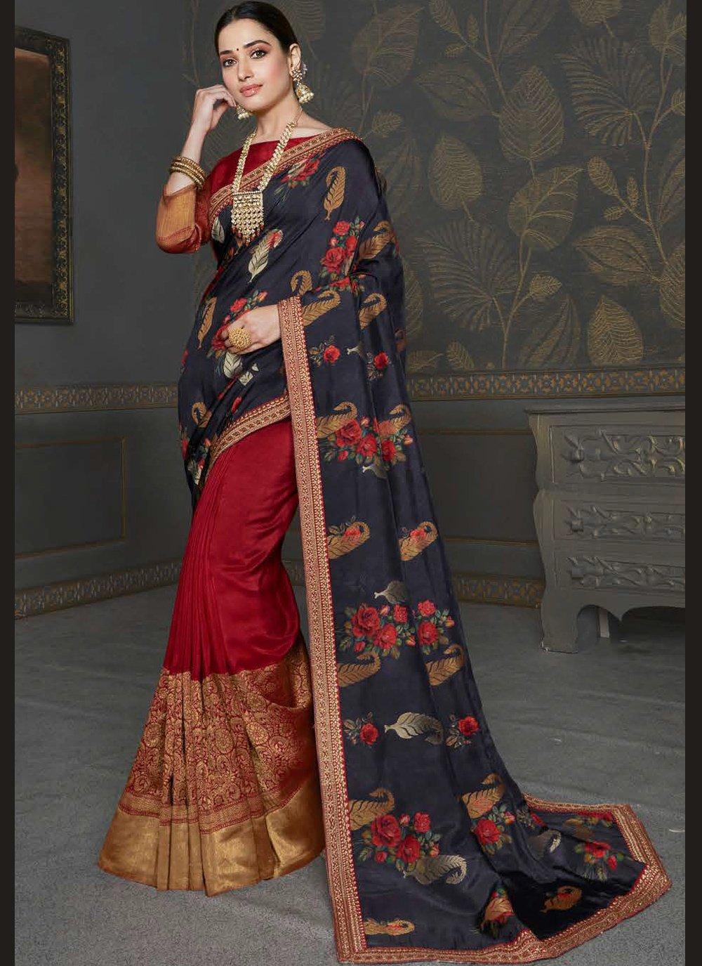 Tamannaah Bhatia Maroon and Navy Blue Silk Half N Half  Saree