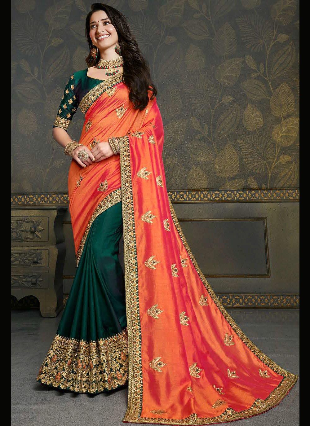 Tamannaah Bhatia Orange and Teal Sangeet Designer Half N Half Saree