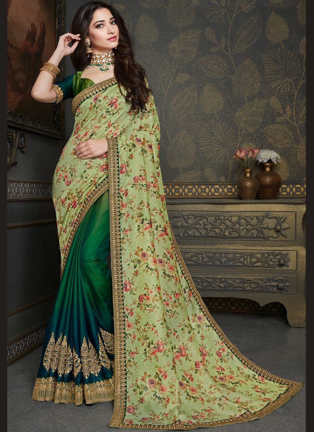 Tamannaah Bhatia Raw Silk Green and Multi Colour Designer Half N Half Saree