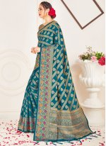 Teal Art Banarasi Silk Ceremonial Designer Traditional Saree