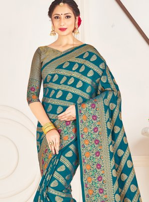 Teal Art Banarasi Silk Ceremonial Designer Traditional Saree