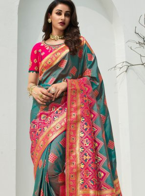 Teal Banarasi Silk Traditional Designer Saree