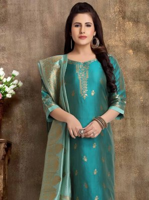 Teal Brocade Readymade Churidar Suit
