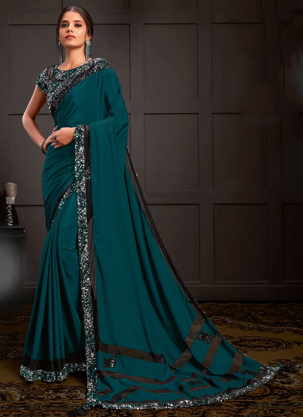 Teal Ceremonial Silk Designer Saree