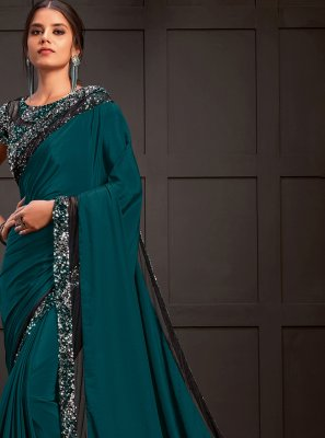 Teal Ceremonial Silk Designer Saree