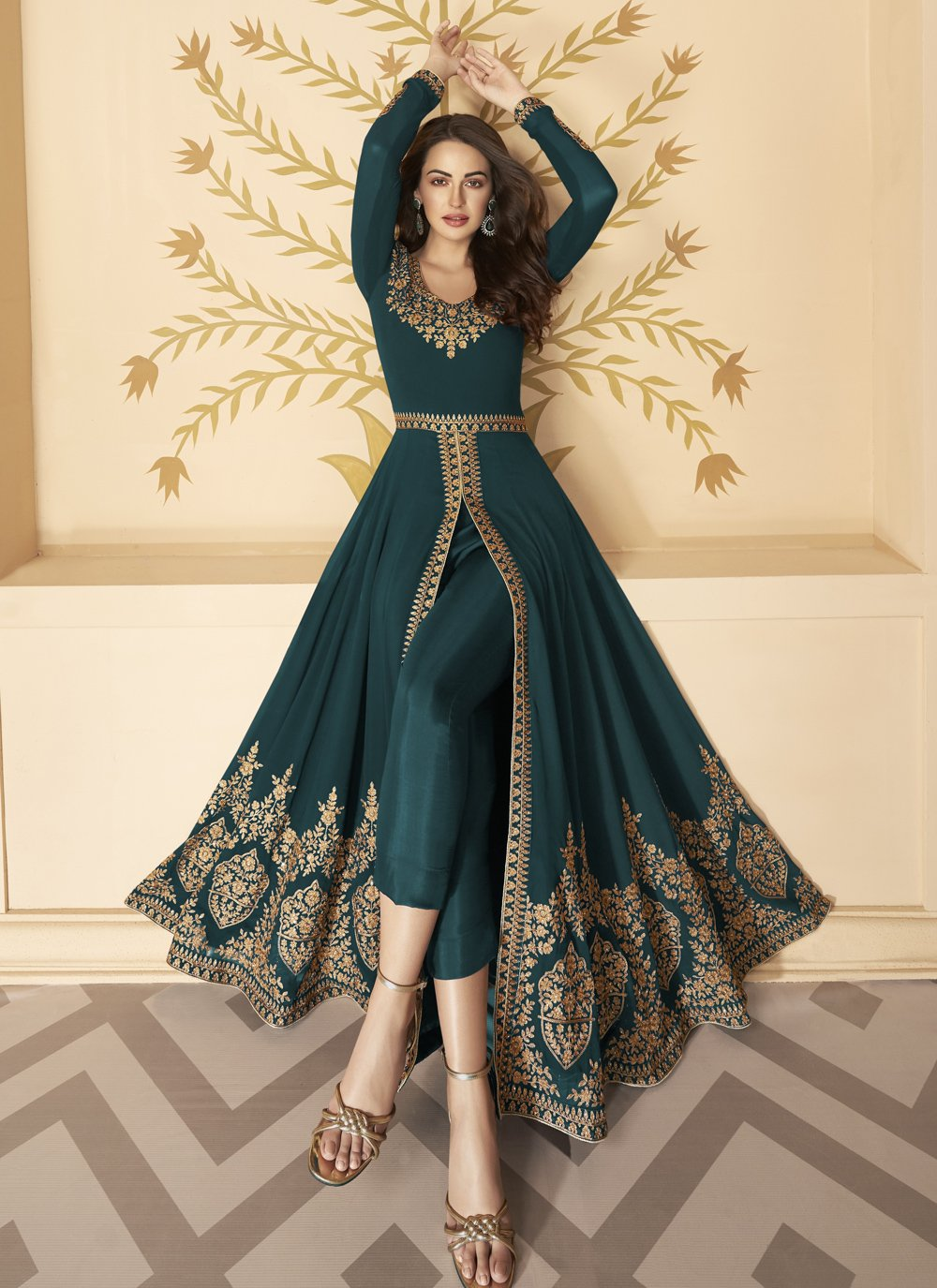 Teal Color Anarkali Salwar Kameez