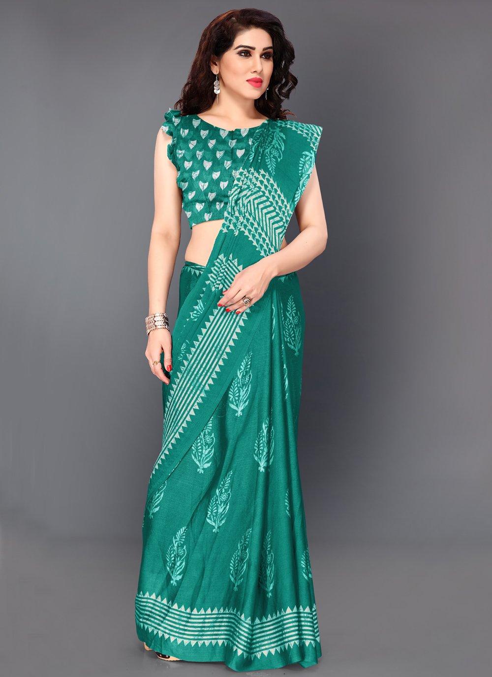 Teal Color Designer Saree