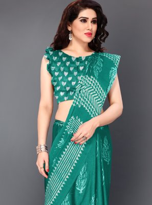 Teal Color Designer Saree