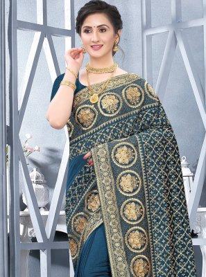 Teal Color Designer Traditional Saree