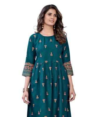 Teal Color Party Wear Kurti