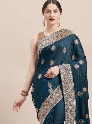 Teal Color Traditional Designer Saree