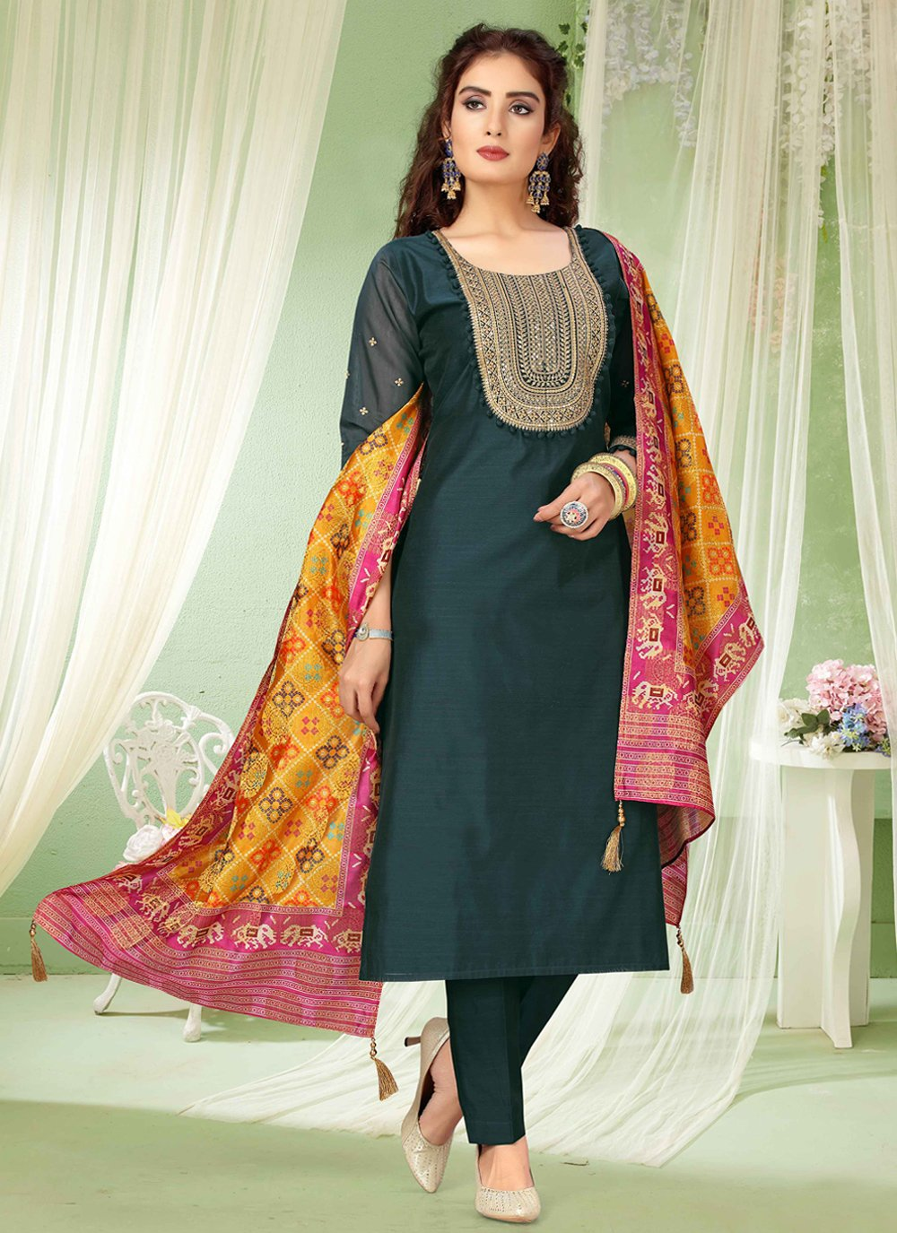 Teal Color Trendy Salwar Kameez