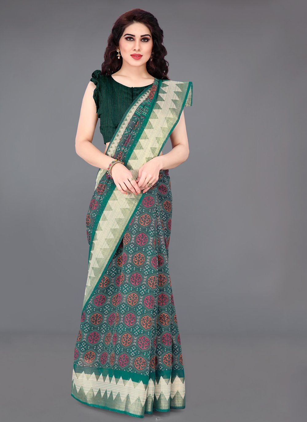 Teal Cotton Casual Printed Saree