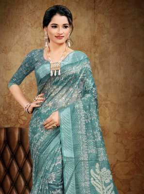 Teal Cotton Printed Saree