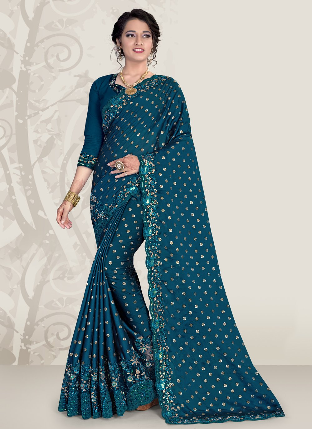 Teal Embroidered Ceremonial Traditional Designer Saree