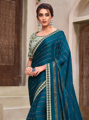 Teal Embroidered Classic Designer Saree