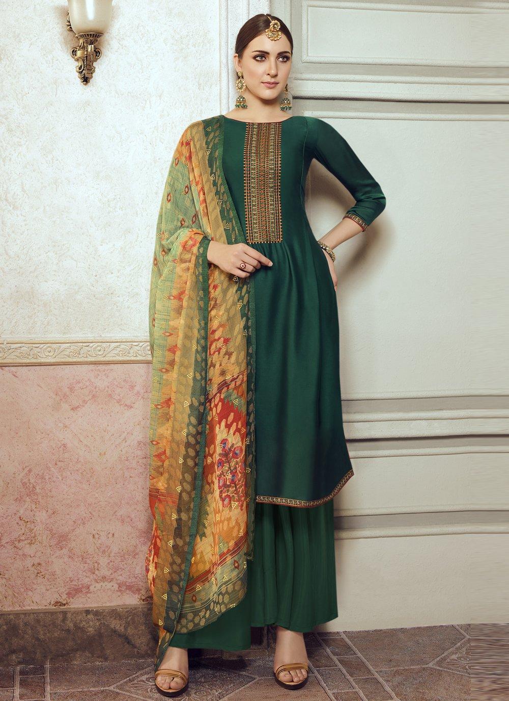 Teal Embroidered Designer Pakistani Salwar Suit