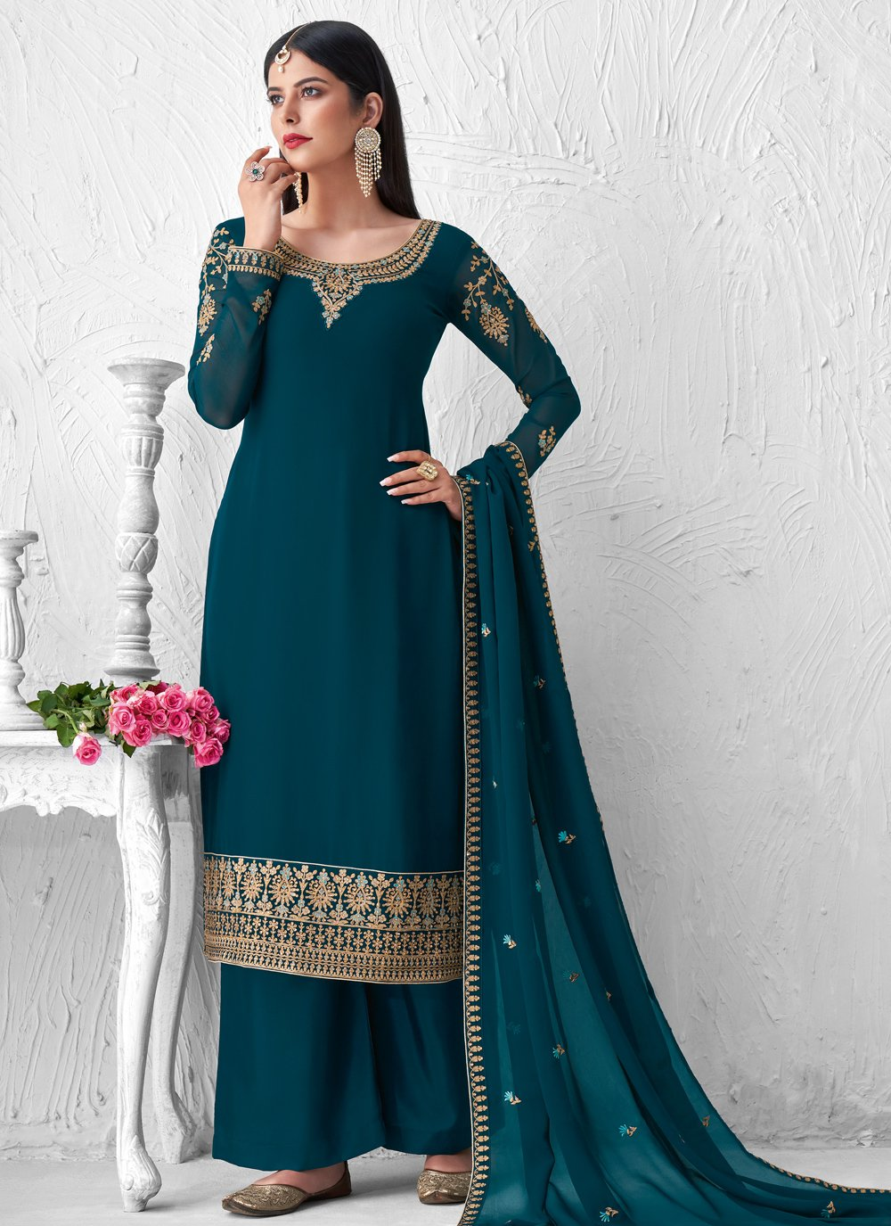 Teal Embroidered Designer Palazzo Suit