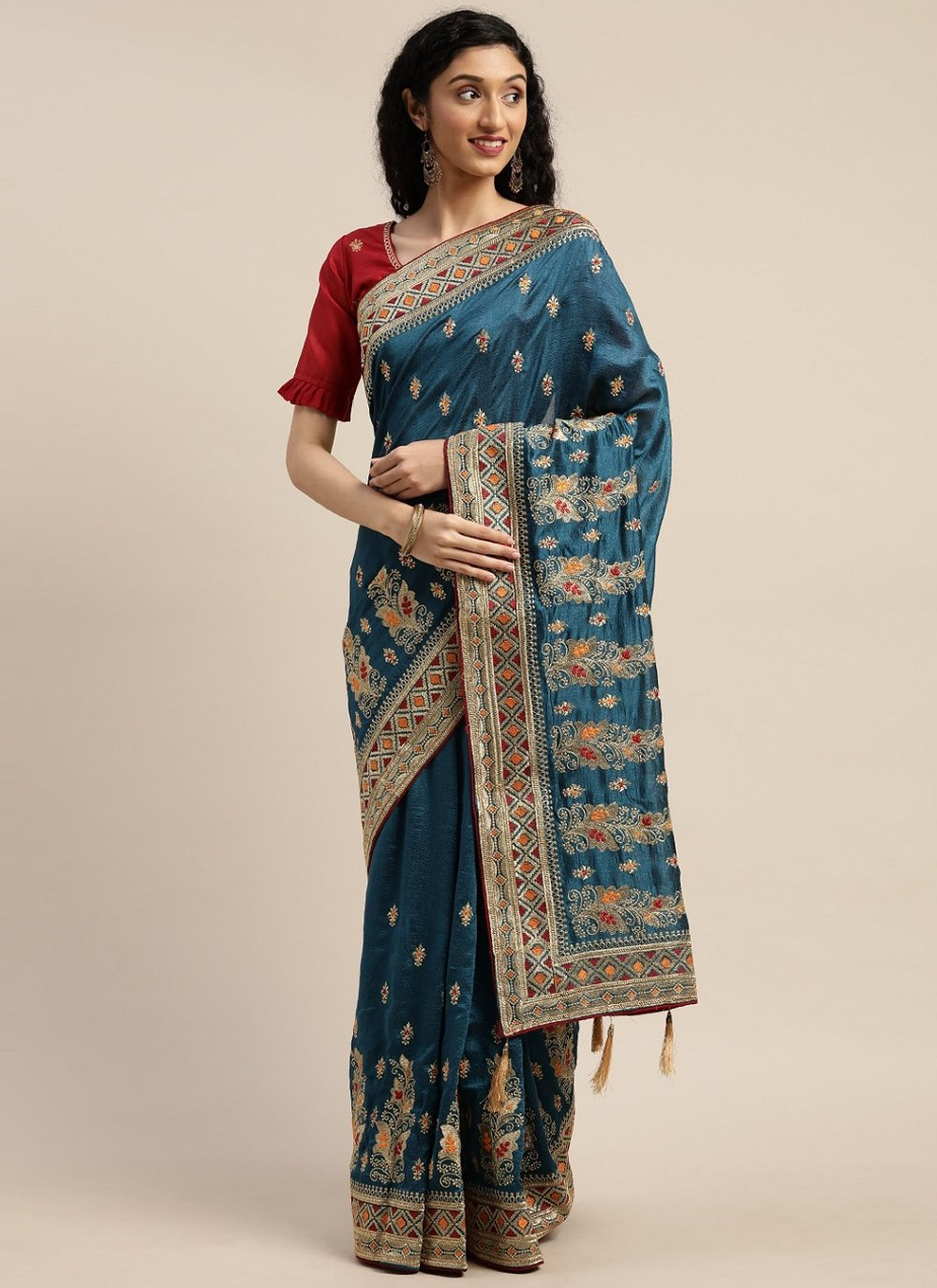 Teal Embroidered Designer Traditional Saree