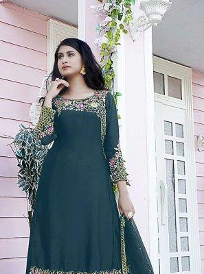 Teal Embroidered Festival Designer Pakistani Salwar Suit