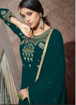 Teal Embroidered Georgette Trendy Anarkali Salwar Suit