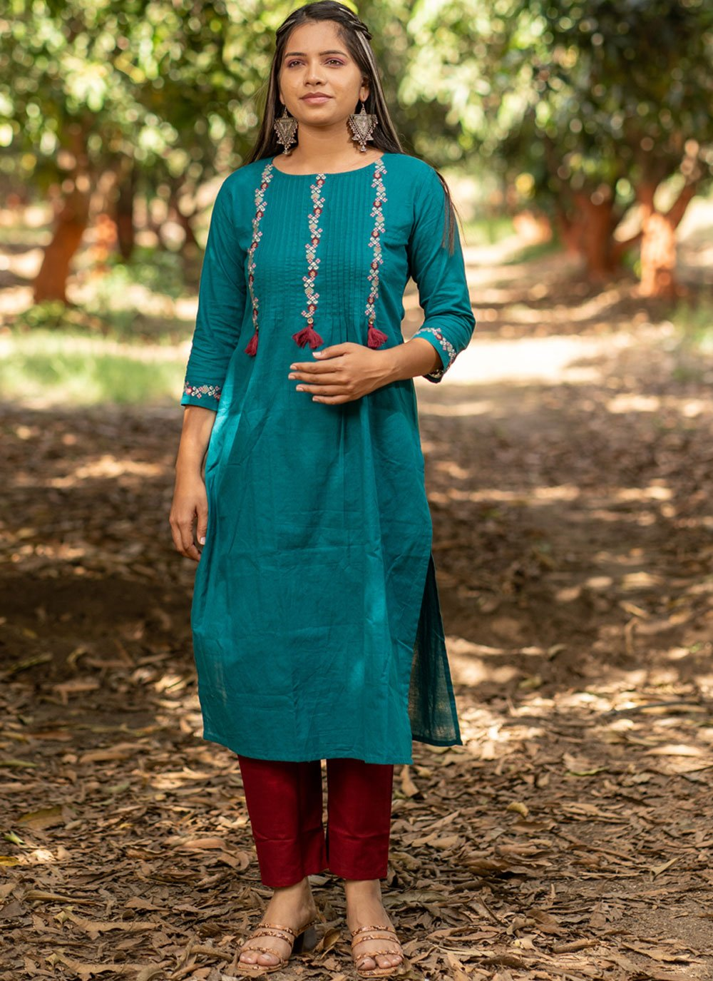 Teal Embroidered Party Wear Kurti