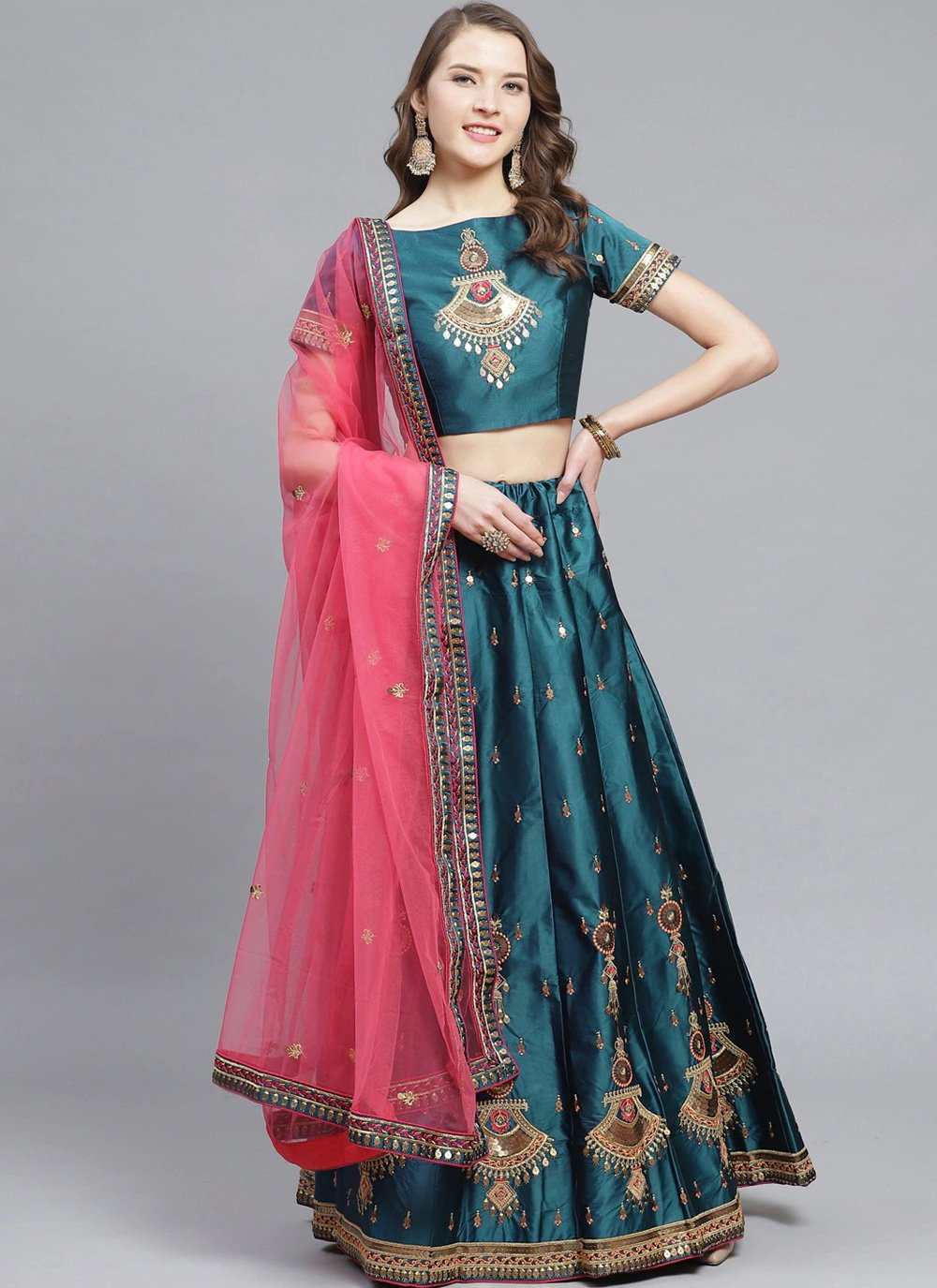 Teal Embroidered Satin Designer Lehenga Choli