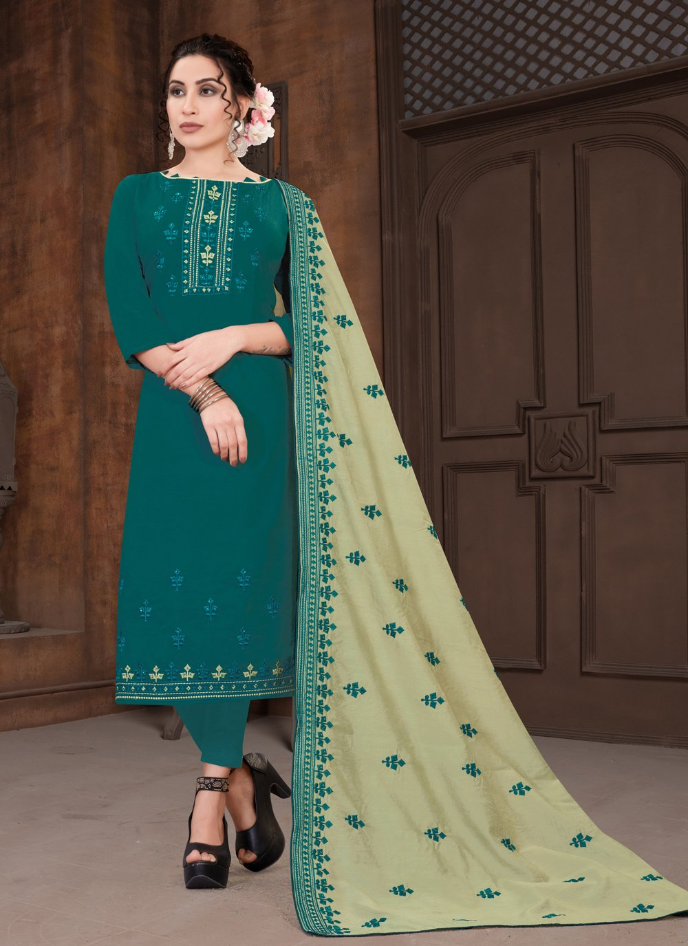Teal Embroidered Viscose Designer Straight Suit