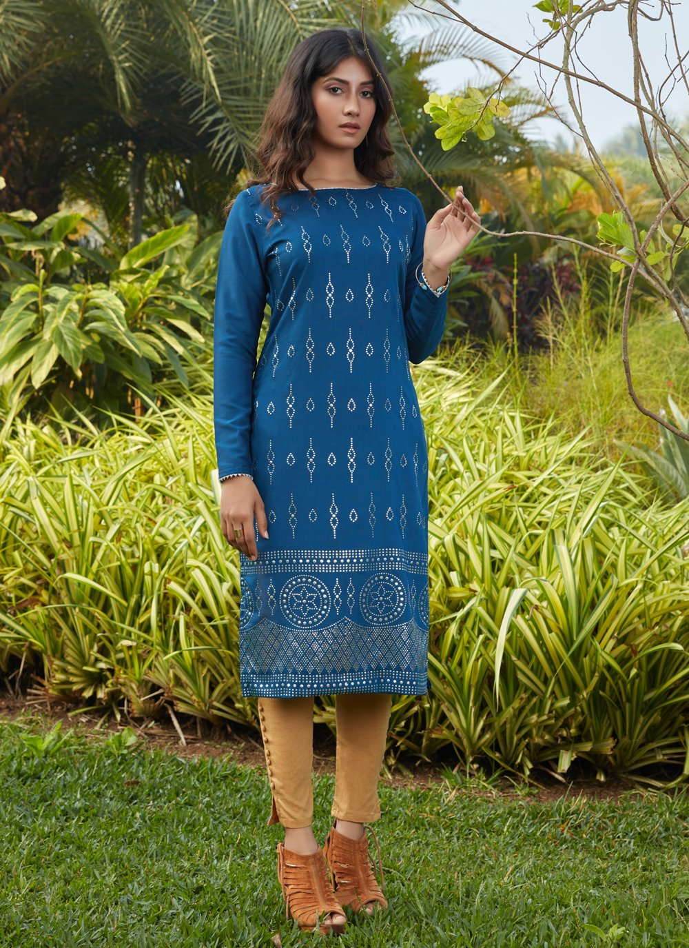 Teal Fancy Cotton Party Wear Kurti