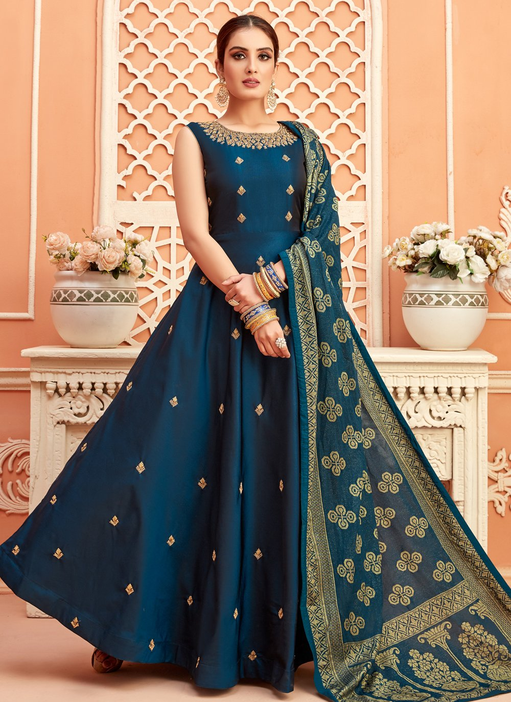 Teal Fancy Sangeet Floor Length Anarkali Suit