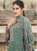 Teal Faux Georgette Designer Pakistani Suit