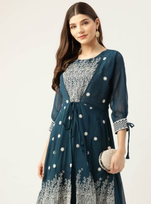 Teal Faux Georgette Embroidered Party Wear Kurti