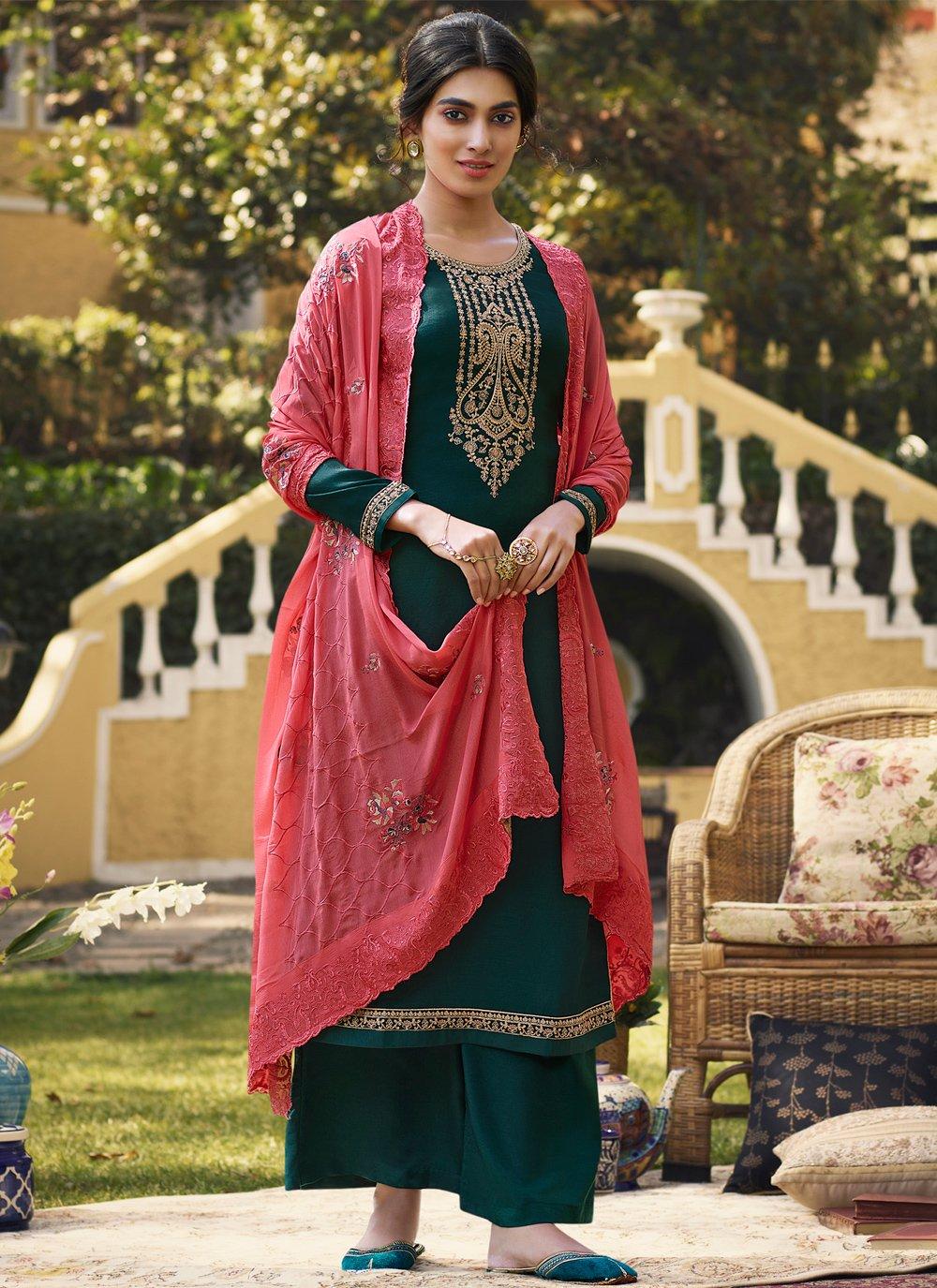 Teal Festival Designer Palazzo Salwar Kameez